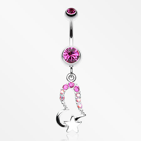 Journey Heart and Star Belly Button Ring-Fuchsia