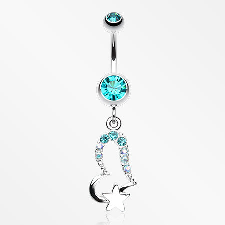 Journey Heart and Star Belly Button Ring-Teal
