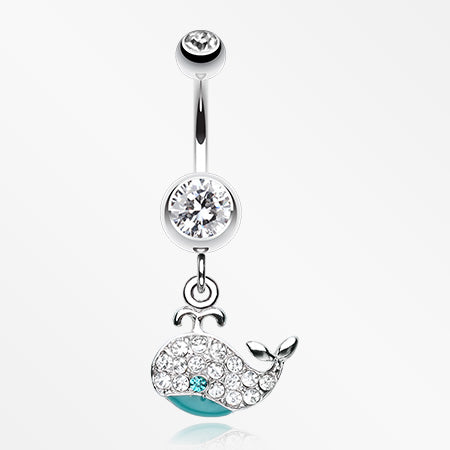 Adorable Whale Multi-Gem Belly Button Ring-Clear