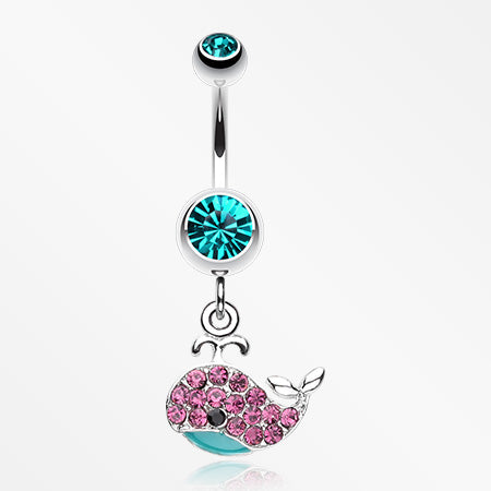 Adorable Whale Multi-Gem Belly Button Ring-Teal