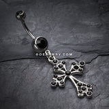 Shimmering Cross Belly Button Ring-Black
