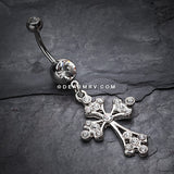 Shimmering Cross Belly Button Ring-Clear