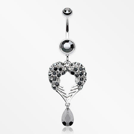 Heart Wings Crystalline Belly Button Ring-Hematite