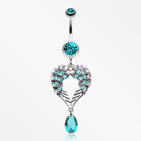 Heart Wings Crystalline Belly Button Ring-Teal
