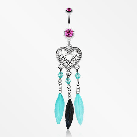 Heart Dreamcatcher Feathered Belly Button Ring-Fuchsia