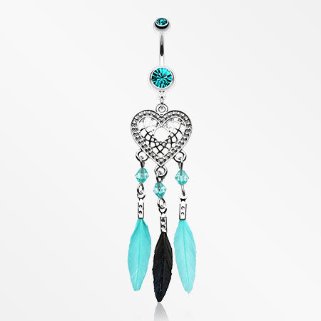 Heart Dreamcatcher Feathered Belly Button Ring-Teal