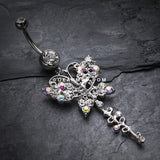 Opulent Butterfly Multi-Gem Belly Button Ring-Clear/Aurora Borealis
