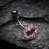 Glamour Sexy Lips Belly Button Ring-Red/Aurora Borealis