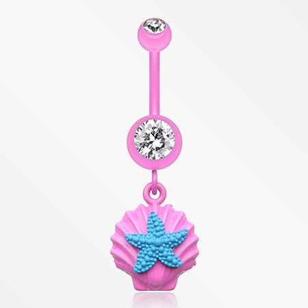 Ariel's Starfish Shell Belly Button Ring-Pink/Clear/Teal