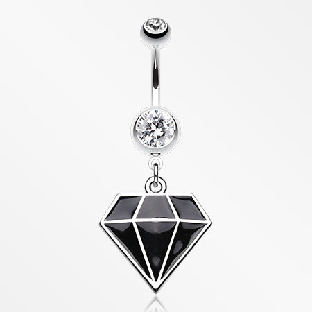 Urban Diamond Steel Belly Button Ring-Clear/Black