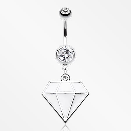 Urban Diamond Steel Belly Button Ring-Clear/White