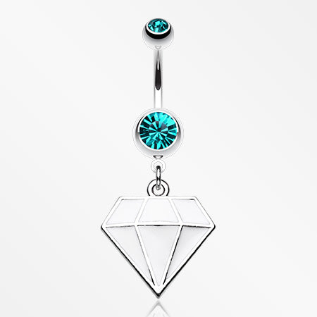 Urban Diamond Steel Belly Button Ring-Teal/White