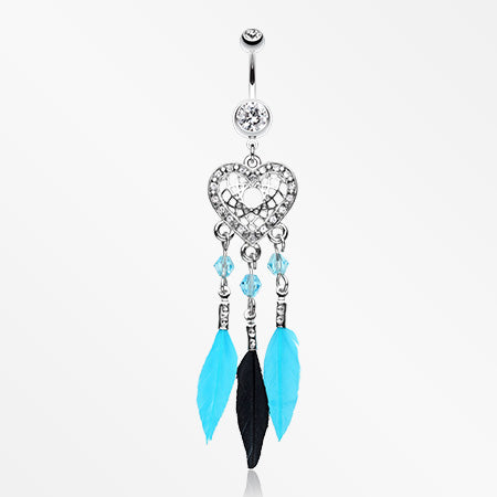Glam Heart Dreamcatcher Feathered Belly Button Ring-Clear