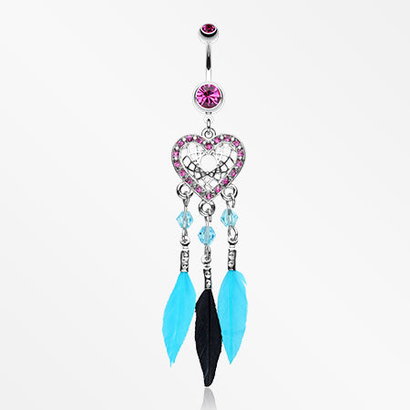 Glam Heart Dreamcatcher Feathered Belly Button Ring-Fuchsia