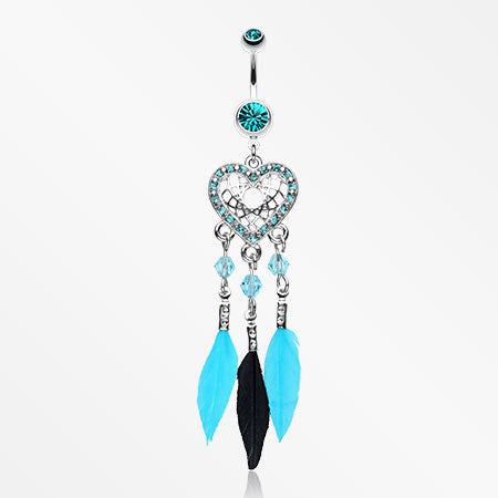 Glam Heart Dreamcatcher Feathered Belly Button Ring-Teal