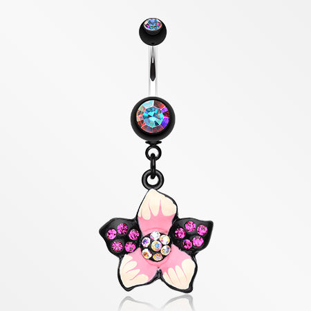 Hawaiian Luau Multi-Gem Belly Button Ring-Aurora Borealis/Fuchsia