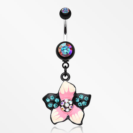 Hawaiian Luau Multi-Gem Belly Button Ring-Aurora Borealis/Teal