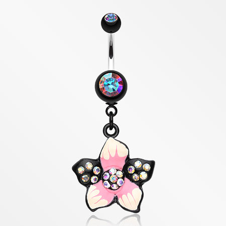 Hawaiian Luau Multi-Gem Belly Button Ring-Aurora Borealis