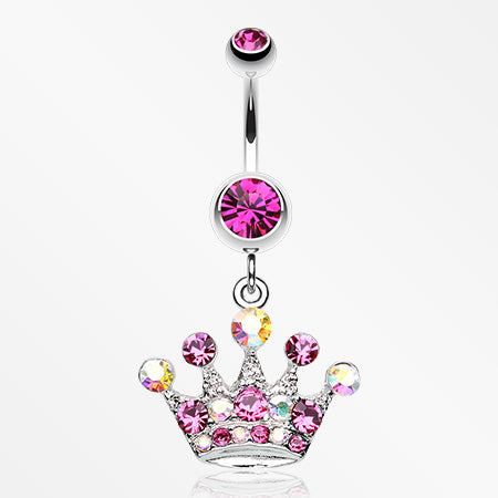 Crown Jewel Multi-Gem Belly Button Ring-Fuchsia