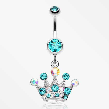 Crown Jewel Multi-Gem Belly Button Ring-Teal