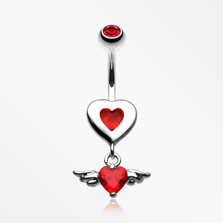 Charming Angel Heart Belly Button Ring-Red