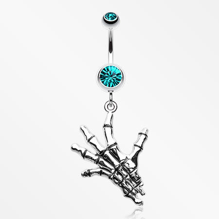 Hand of Death Skeleton Belly Button Ring-Teal