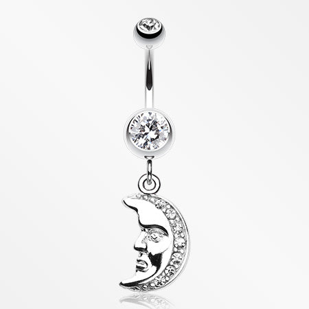 Crescent Moon Face Belly Button Ring-Clear