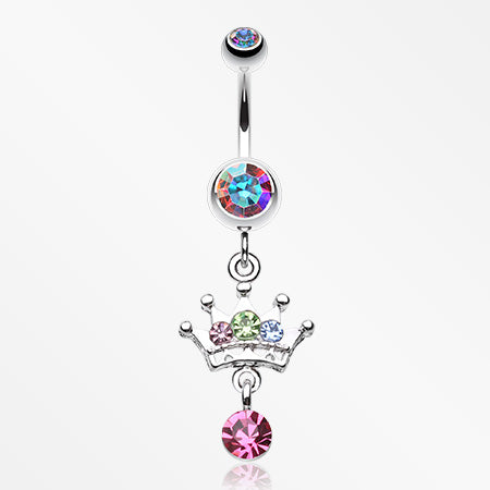 Crown Sparkle Belly Button Ring-Aurora Borealis