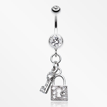 Glistening Lock and Key Belly Button Ring-Clear