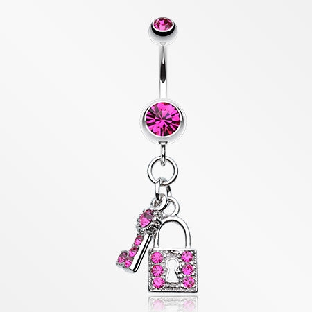 Glistening Lock and Key Belly Button Ring-Fuchsia