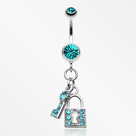 Glistening Lock and Key Belly Button Ring-Teal