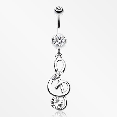 G-Clef Bling Belly Button Ring-Clear