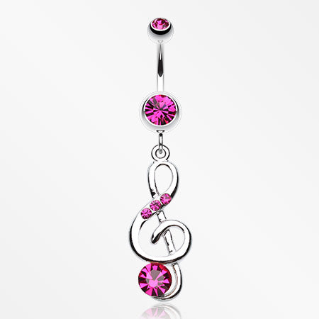 G-Clef Bling Belly Button Ring-Fuchsia