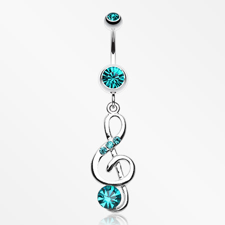 G-Clef Bling Belly Button Ring-Teal
