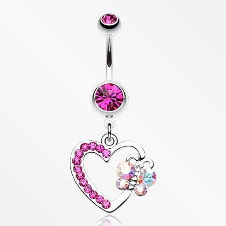 Butterfly Journey Heart Belly Button Ring-Fuchsia