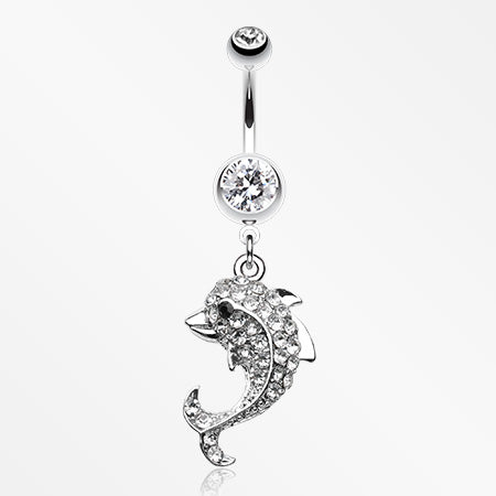 Sweet Sparkle Dolphin Belly Button Ring-Clear