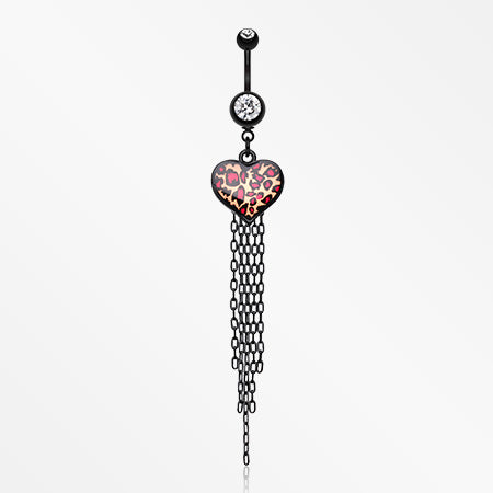 Wild Leopard Heart Belly Button Ring-Clear