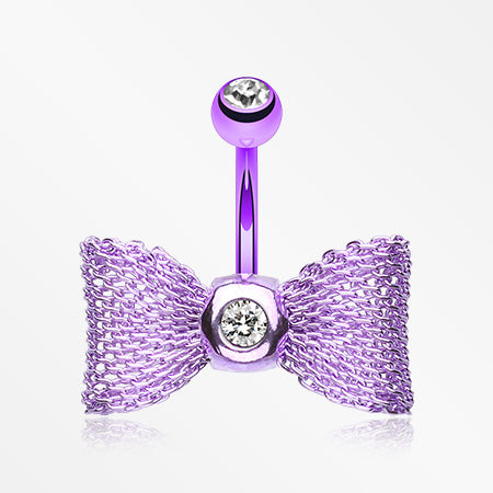 Colorline Mesh Bow-Tie Belly Button Ring-Purple/Clear