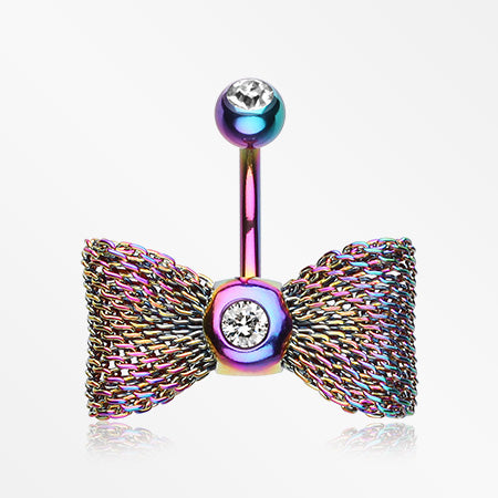 Colorline Mesh Bow-Tie Belly Button Ring-Rainbow/Clear