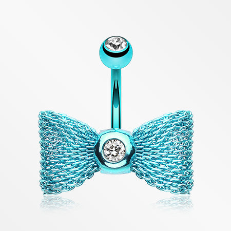 Colorline Mesh Bow-Tie Belly Button Ring-Teal/Clear