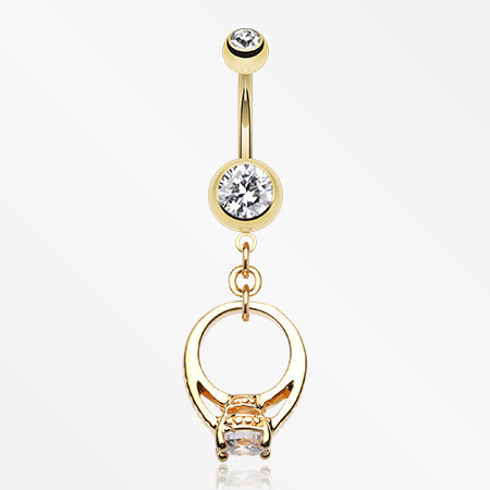 Golden Promise Belly Button Ring-Clear