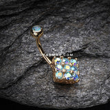 Golden Sparkle Overload Belly Button Ring-Aqua/Aurora Borealis