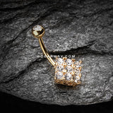 Golden Sparkle Overload Belly Button Ring-Clear