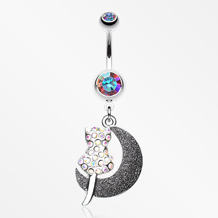 Moonlight Dream Kitty Belly Button Ring-Aurora Borealis