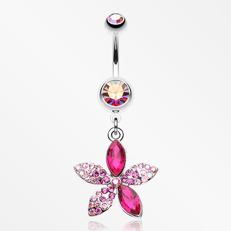 Radiant Spring Beauty Flower Belly Button Ring-Pink/Aurora Borealis
