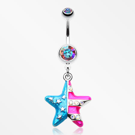 The American Star Flag Belly Button Ring-Aurora Borealis