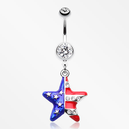 The American Star Flag Belly Button Ring-Clear