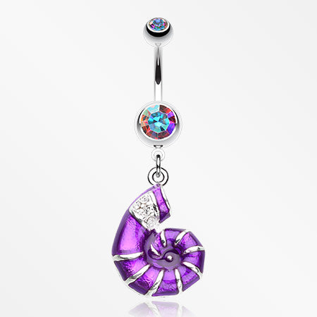 Vibrant Nautilus Seashell Belly Button Ring-Aurora Borealis/Purple