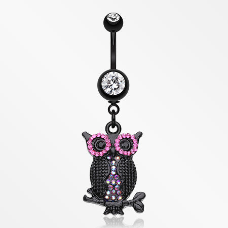 black-dazzle-owl-belly-button-ring-clear