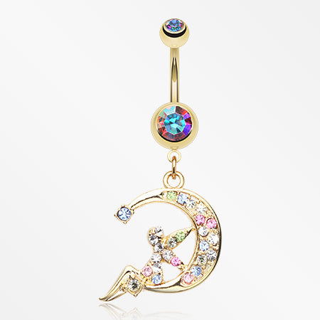 Golden Crescent Moon Fairy Belly Button Ring-Aurora Borealis